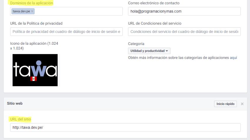 Facebook app dominio y url
