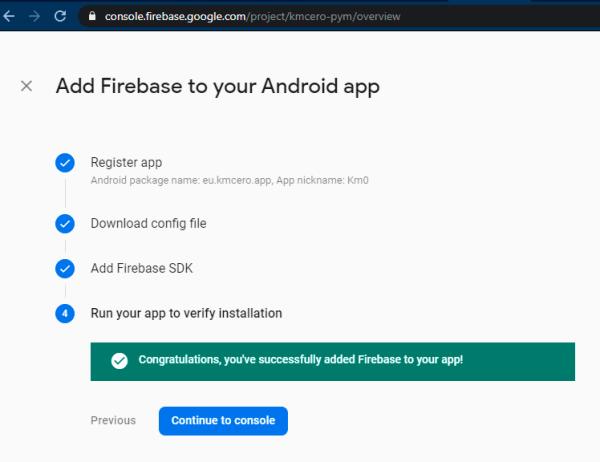 Confirmación de Firebase