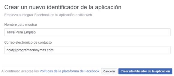 Nombre para la app en facebook