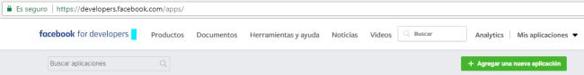 Crear nueva app en facebook