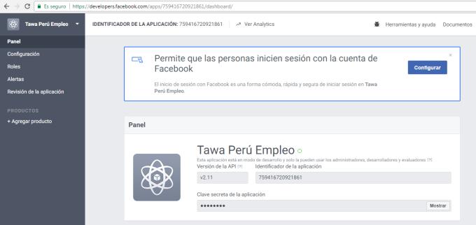 Credenciales de app facebook