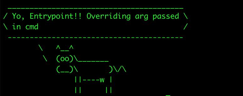 Ejemplo usando ENTRYPOINT y sobreescribiendo el valor de CMD