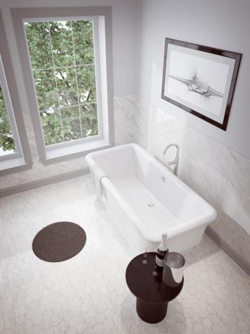 5 ft freestanding soaking tub. Slik Portfolio 60FS33 image 1 Merit 5ft Freestanding Soaker Tub