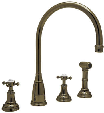 RohlPerrin U0026 Rowe 4 Hole C Spout Kitchen Faucet With SidesprayU.4735X,  U.4736L