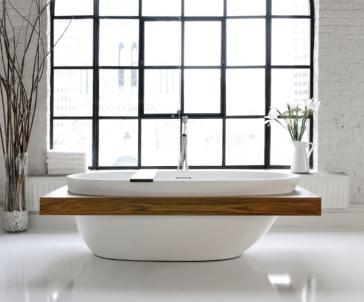 wetstylebe collection soaker tub with surround wood shelfbbe01