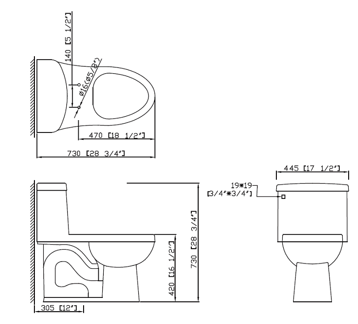 Icera C Riose Onepiece Elongated Chairheight Toilet With - Elongated bowl toilet dimensions