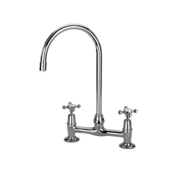 Barber Wilsons 1010ml Deck Mount Bridge Faucet With Fixed Mushroom Deck Unions
