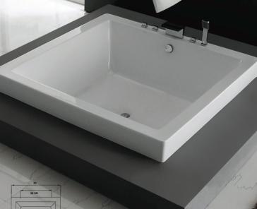 Slik portfolio 63di63 zendo square drop in soaker tub for Drop in soaker bathtubs