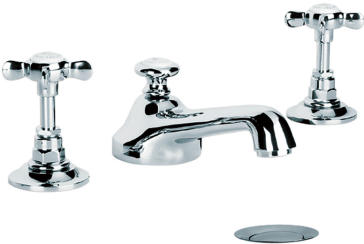 Lefroy Brooks C1 1049 Classic Crosshead Cross Handle 3 Hole Basin Mixer With Pop Up Waste