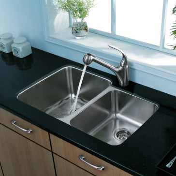 Vigo vg3221l 32 double bowl undermount sink for Granite overhang limit