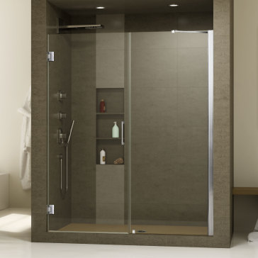 dreamline shdr 20517210 unidoor 51 27 inch shower door with 24 stationary panel and support arm. Black Bedroom Furniture Sets. Home Design Ideas