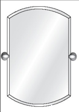 """Afina RM-932-T Radiance 20"""" Double Arch Frameless 1"""" Bevel Wall Mirror With Decorative Tilt ..."""