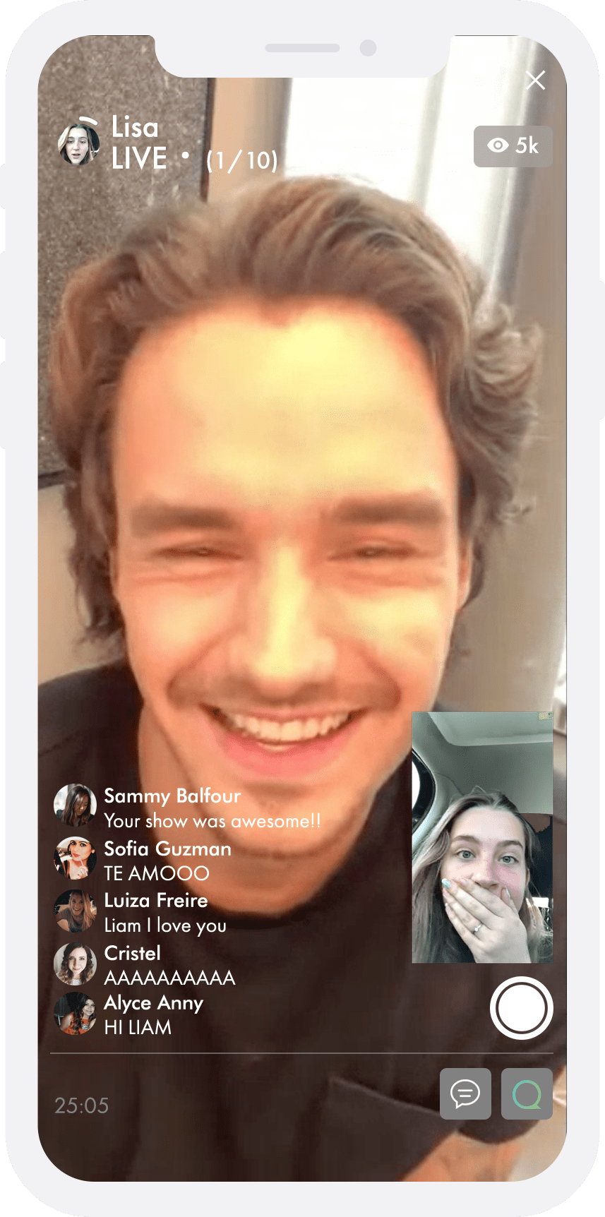 Liam Payne live video chatting to a fan on QJAM