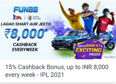 Get 15% Cashback at Fun88 with Lagao shart aur jeeto ₹8000 cashback weekend pe