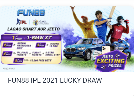 Get a chance to win BMW SUV- X7 on Fun88 with IPL 2021 LuckyDraw