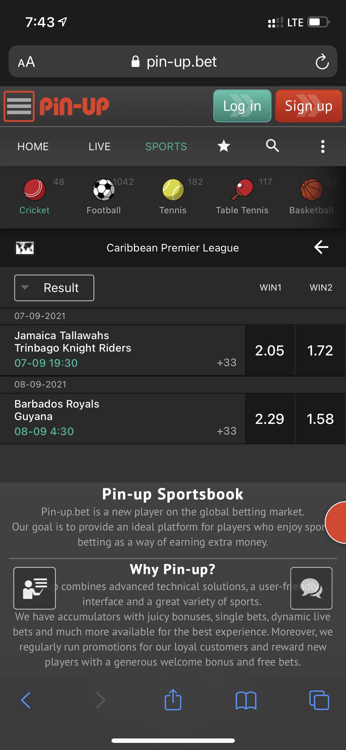 Pin-Up Cricket Betting