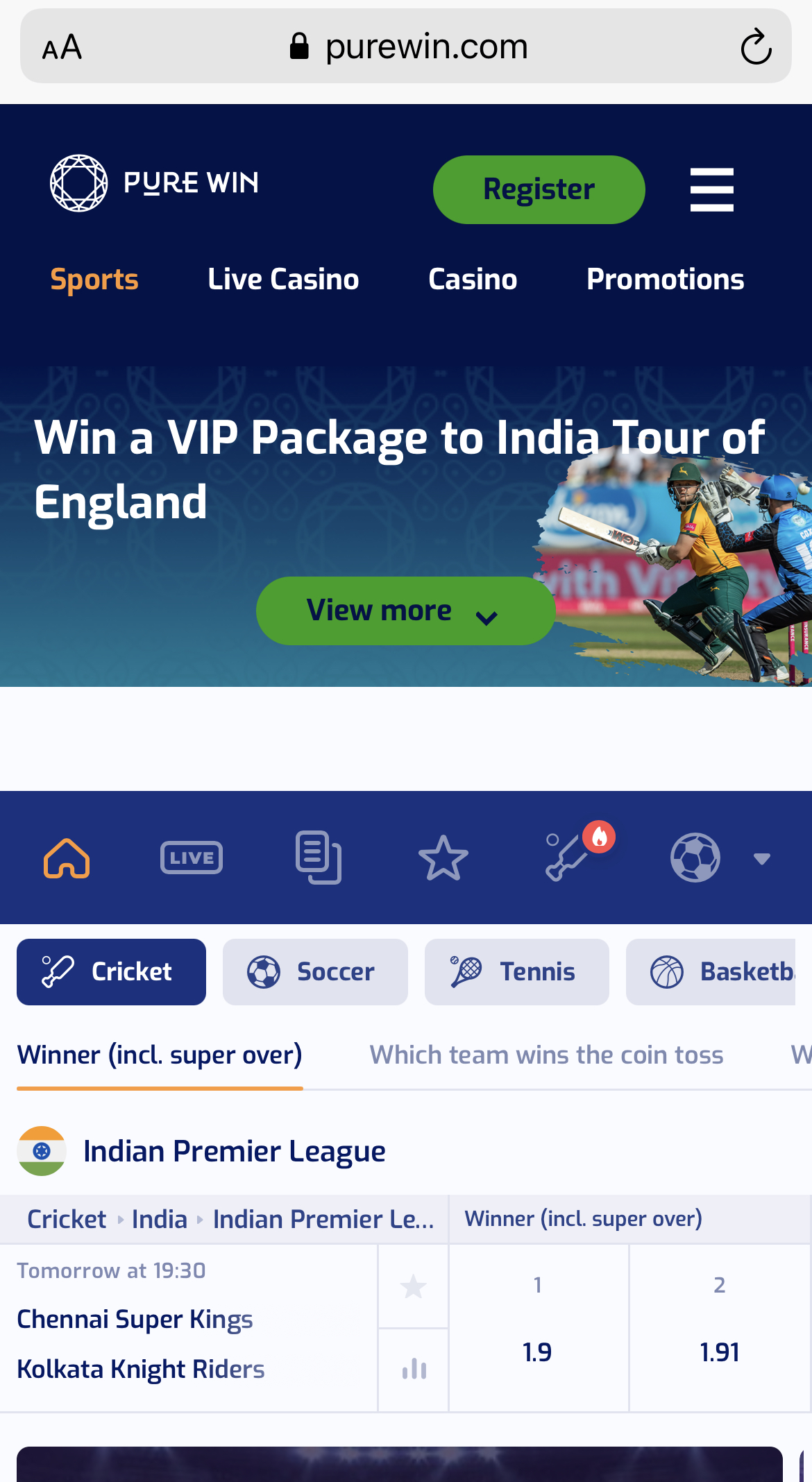 Pure Win Cricket Betting