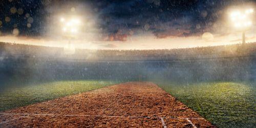Rainy Cricket Field