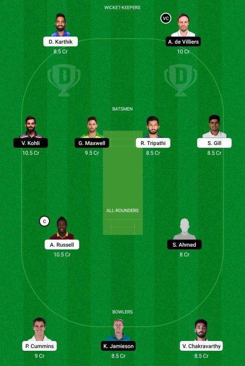 Kolkata Knight Riders vs Royal Challengers Bangalore Dream11 Team Prediction