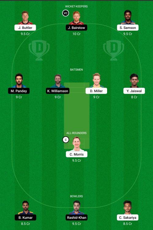 Rajasthan Royals vs Sunrisers Hyderabad Dream11 Team Prediction