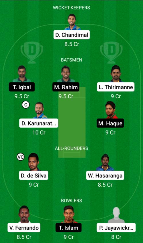 Sri Lanka vs Bangladesh Dream11 Team Prediction