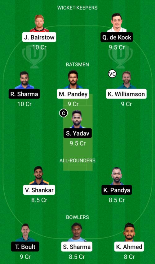 Sunrisers Hyderabad vs Mumbai Indians Dream11 Team Prediction