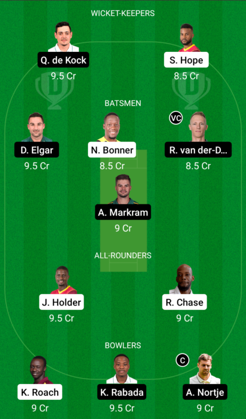 West Indies vs South Africa Dream11 Team Prediction