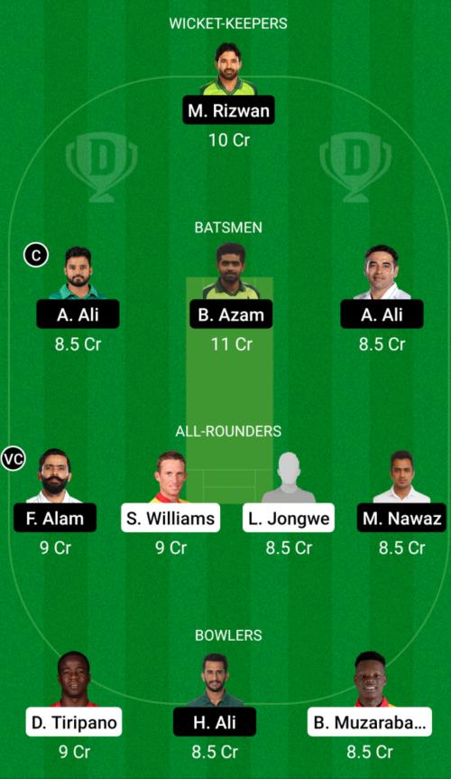 Zimbabwe vs Pakistan Dream11 Team Prediction