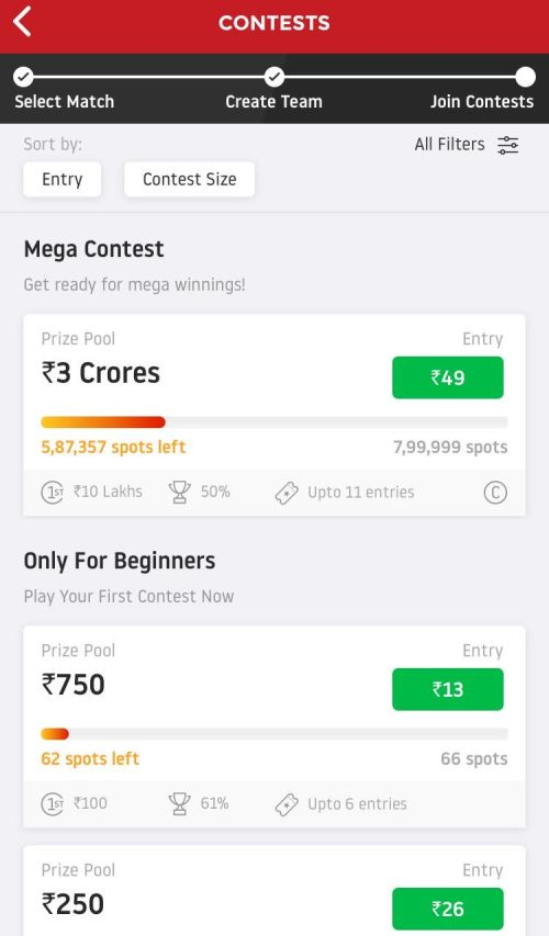 Dream11 List of Contests