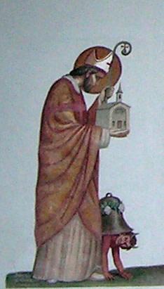 06. San Teodulo rappresentato con il diavolo sulla facciata della cappella di Crépin (Valtournenche). La pittura ottocentesca riprende i motivi della Controriforma.