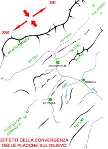 Fig. 01 - Orientamento NE-SW delle valli e delle creste rocciose nell'alta Valle d'Aosta.