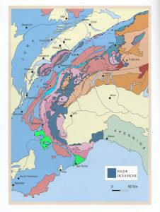 4. La distribuzione delle rocce oceaniche all'interno delle Alpi Occidentali. Da Marthaler, 2002.