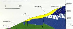 3. Ricostruzione in sezione di una crosta oceanica tipica. Da Nicolas, 1990.