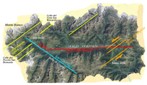 2. Le strutture geologiche più influenti sui transiti a nord-ovest: faglie recenti o attive e altri dislocamenti di corpi rocciosi.