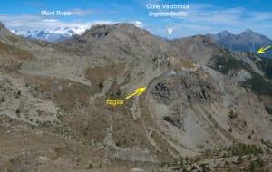 5. Vue du système de failles Ospizio Sottile depuis le sommet du Bec Barmasse.