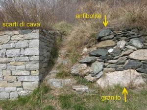 16. Nuovo e vecchio muretto di contenimento su strada romana a Balmas, Montjovet.