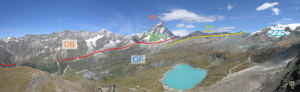 23. OF : méta-ophiolites. ZZS : unité océanique éclogitique de Zermatt-Saas. ZC : unité océanique non-éclogitique du Combin. DB : nappe continentale du Cervin (Dent Blanche). G : gabbros du Cervin. vp : unité méta-sédimentaire de Valpelline.