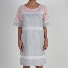 Black And White Striped And Pink Box Fit Dress