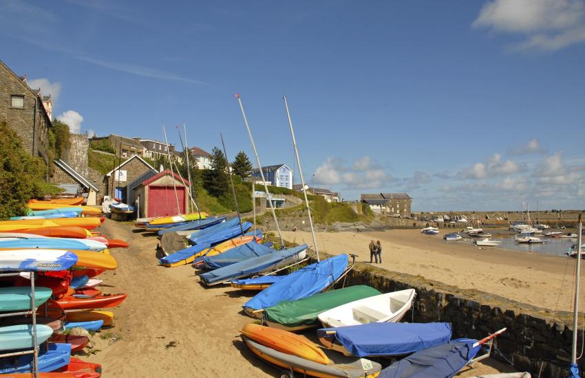 New Quay a bustling seaside resort