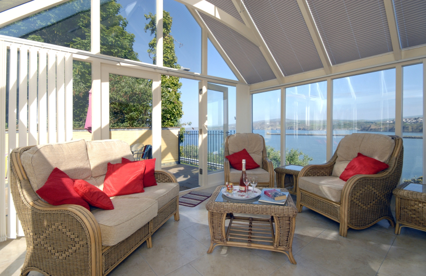 Sun room with harbour views