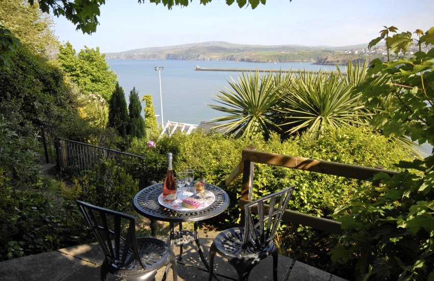 Sea views from the secluded patio at the top of the gardens