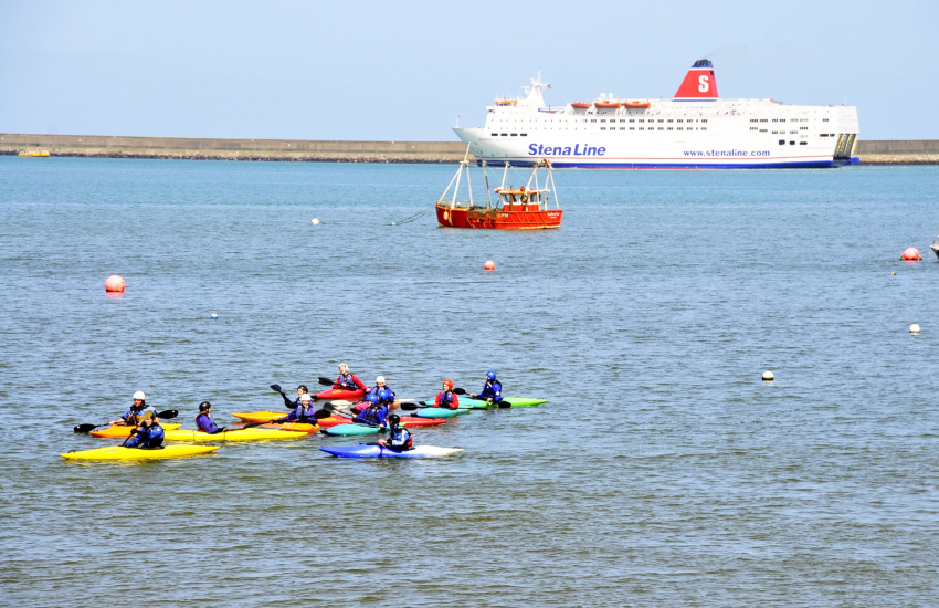 Kayaking in Fishguard harbour