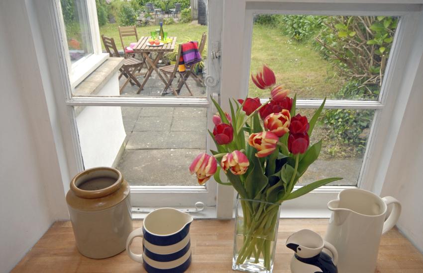 Kitchen overlooks the gardens