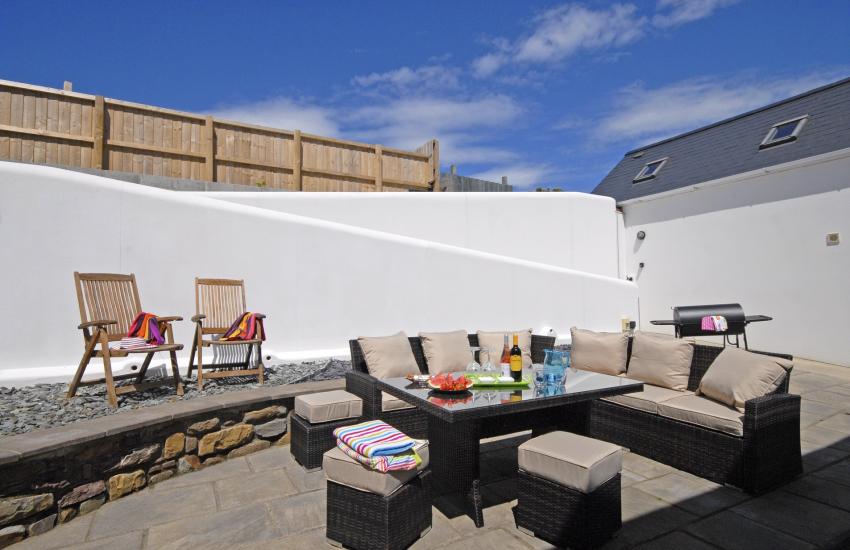 Private patio with Rattan furniture
