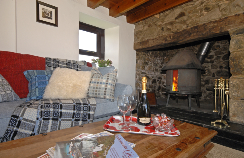 Buttercup Cottage cosy living room with Jotul log burner