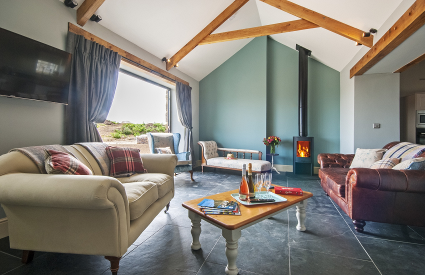 St Davids holiday cottage - sitting room with log burner