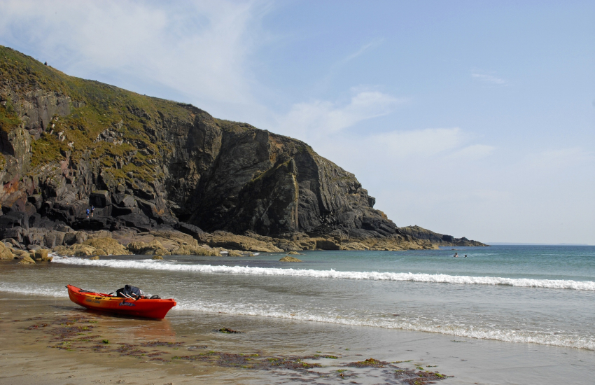 Caerfai Bay - a sheltered sandy cove popular for kayaking