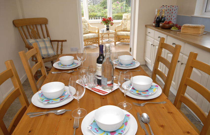 Kitchen/diner leads to the sunny conservatory