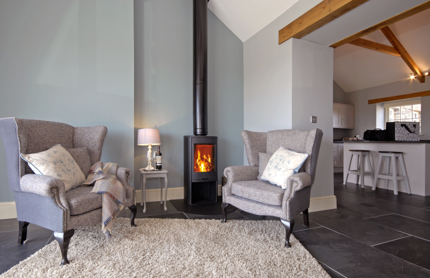 Porthclais View sitting room with wood burning stove