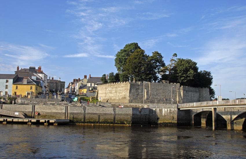 Cardigan Castle overlooking the Teifi River